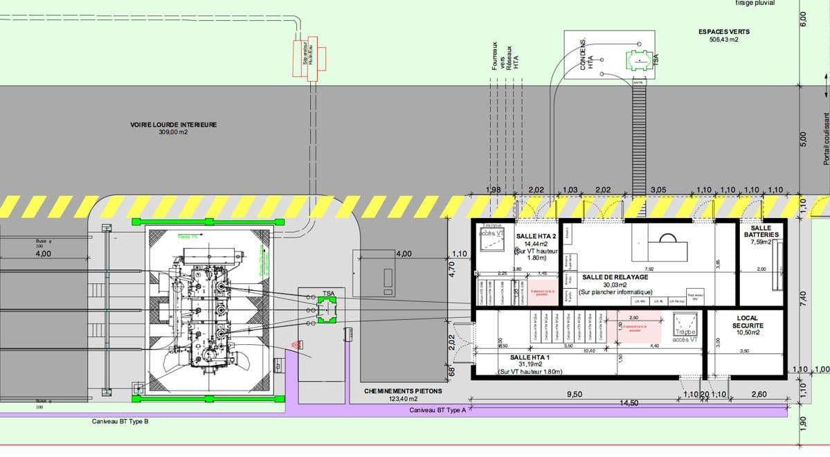 iam architectes Réalisation d'une plateforme et d'un bâtiment de commande pour un transformateur 63 Kv Rion des Landes (40)