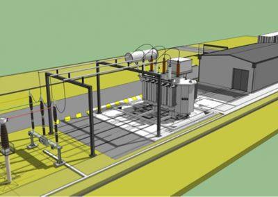 Réalisation d'une plateforme et d'un bâtiment de commande pour un transformateur